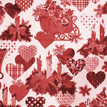 hearts and sleighs monochromatic toille-red