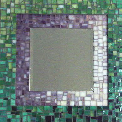 bi-level mosaic mirror using stained glass