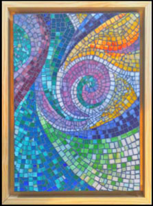 swirl abstraction glass mosaic wall art